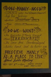 Anti high-rise flyer from Manly in the 1980s
